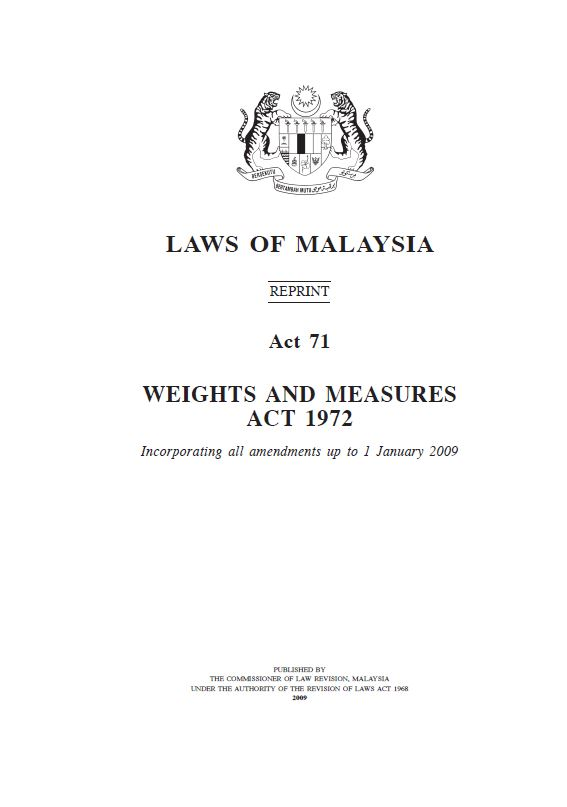 Act 71 - Weights and Measures Act 1972
